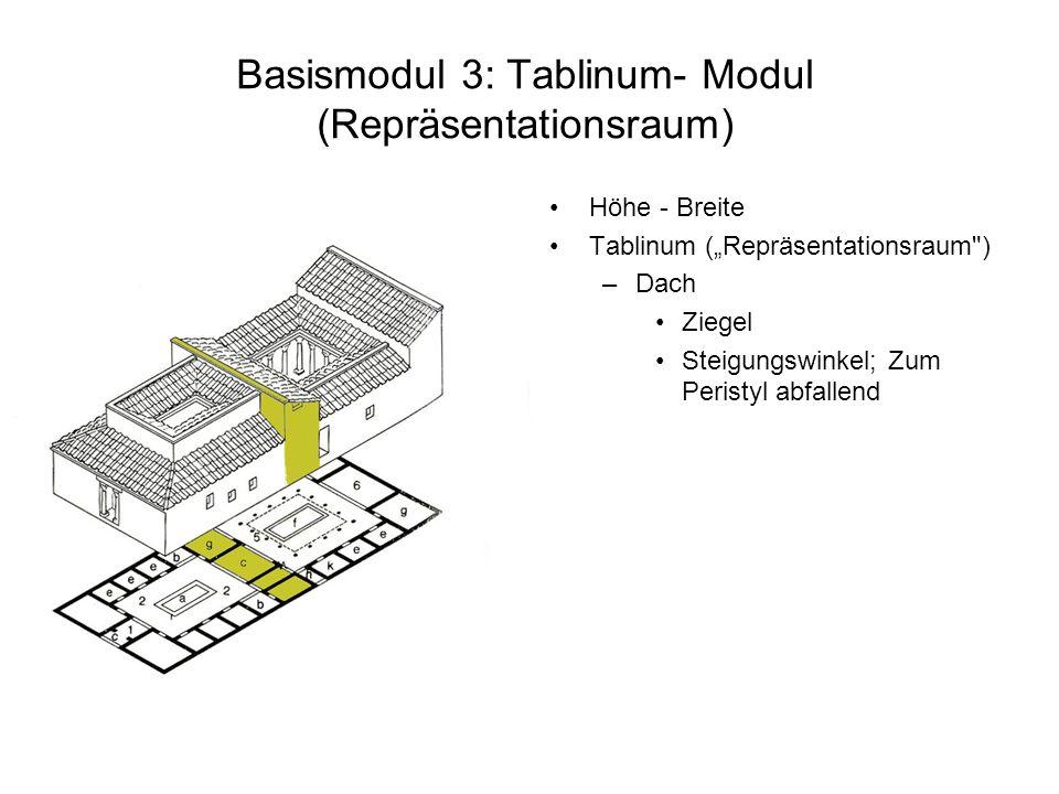 Basismodul 3: Tablinum- Modul (Repräsentationsraum) Höhe - Breite Tablinum (Repräsentationsraum