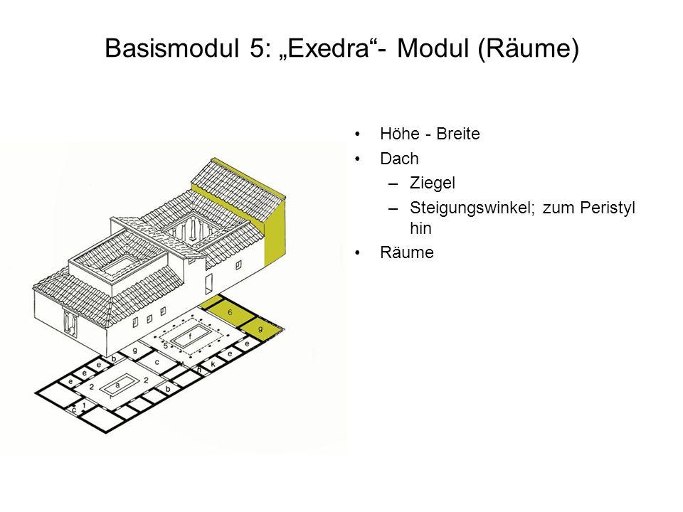 Basismodul 5: Exedra- Modul (Räume) Höhe - Breite Dach –Ziegel –Steigungswinkel; zum Peristyl hin Räume