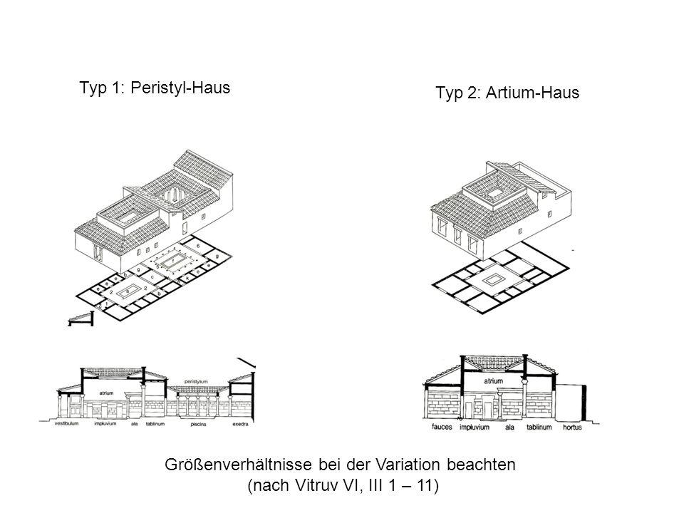 Typ 1: Peristyl-Haus Typ 2: Artium-Haus Größenverhältnisse bei der Variation beachten (nach Vitruv VI, III 1 – 11)