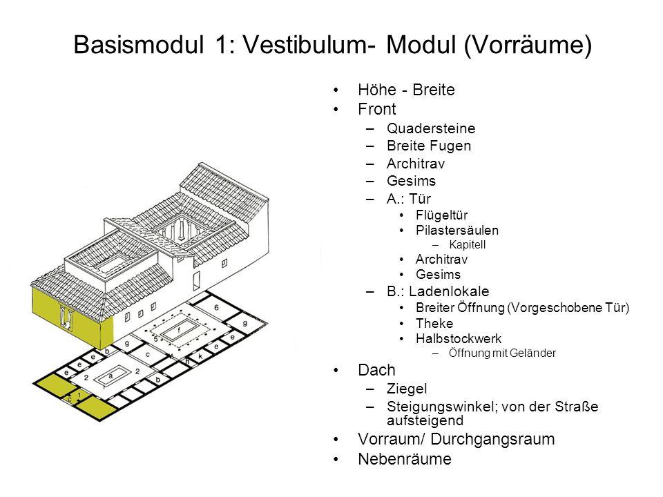 Basismodul 1: Vestibulum- Modul (Vorräume) Höhe - Breite Front –Quadersteine –Breite Fugen –Architrav –Gesims –A.: Tür Flügeltür Pilastersäulen –Kapit