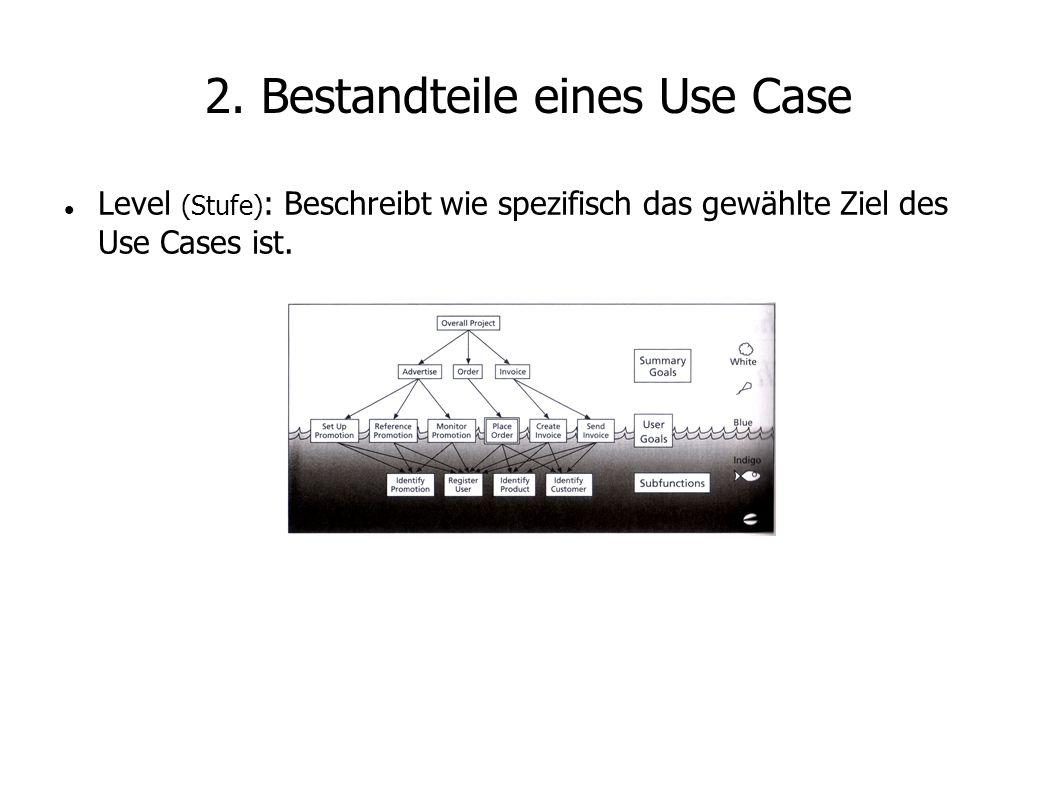 2. Bestandteile eines Use Case Level (Stufe) : Beschreibt wie spezifisch das gewählte Ziel des Use Cases ist.