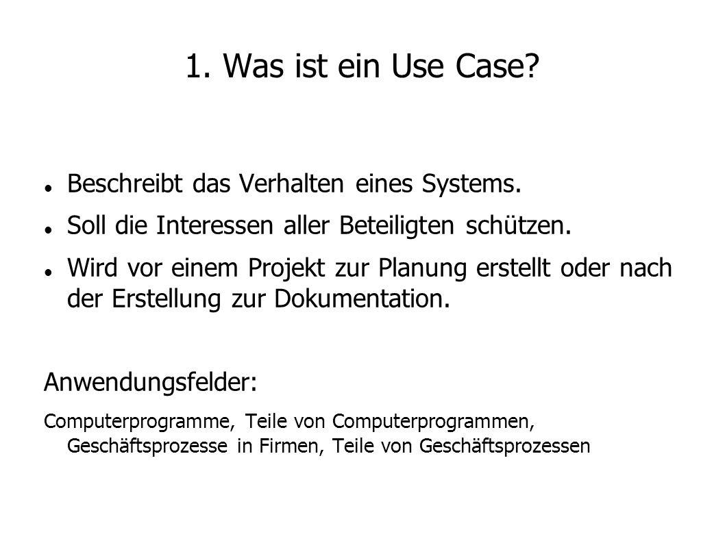 1. Was ist ein Use Case? Beschreibt das Verhalten eines Systems. Soll die Interessen aller Beteiligten schützen. Wird vor einem Projekt zur Planung er