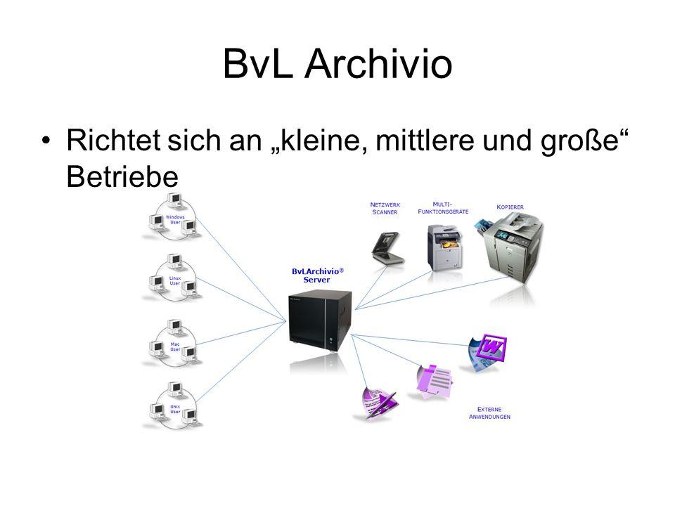 Server, der an ein bestehendes Netzwerk angeschlossen wird 500 GByte Speicherplatz (optional bis zu 3TByte) Archiviert Emails, gescannte Dokumente und andere Dateien Dateien werden im Originalformat gespeichert und optional in PDF-a umgewandelt