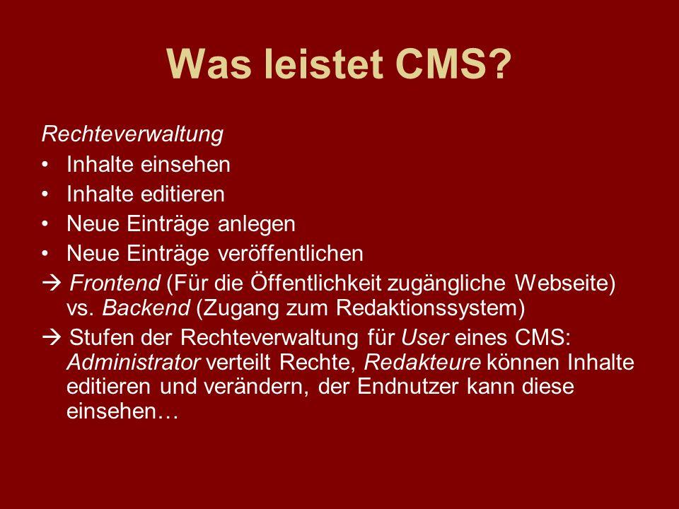 Was leistet CMS? Rechteverwaltung Inhalte einsehen Inhalte editieren Neue Einträge anlegen Neue Einträge veröffentlichen Frontend (Für die Öffentlichk
