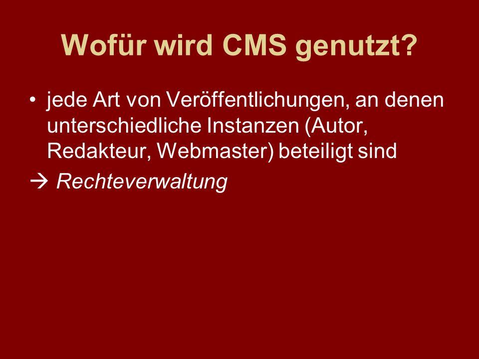 jede Art von Veröffentlichungen, an denen unterschiedliche Instanzen (Autor, Redakteur, Webmaster) beteiligt sind Rechteverwaltung