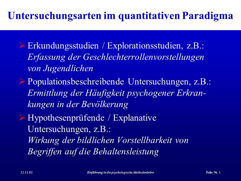 12.11.02Einführung in die psychologische MethodenlehreFolie Nr. 1 Untersuchungsarten im quantitativen Paradigma Erkundungsstudien / Explorationsstudie
