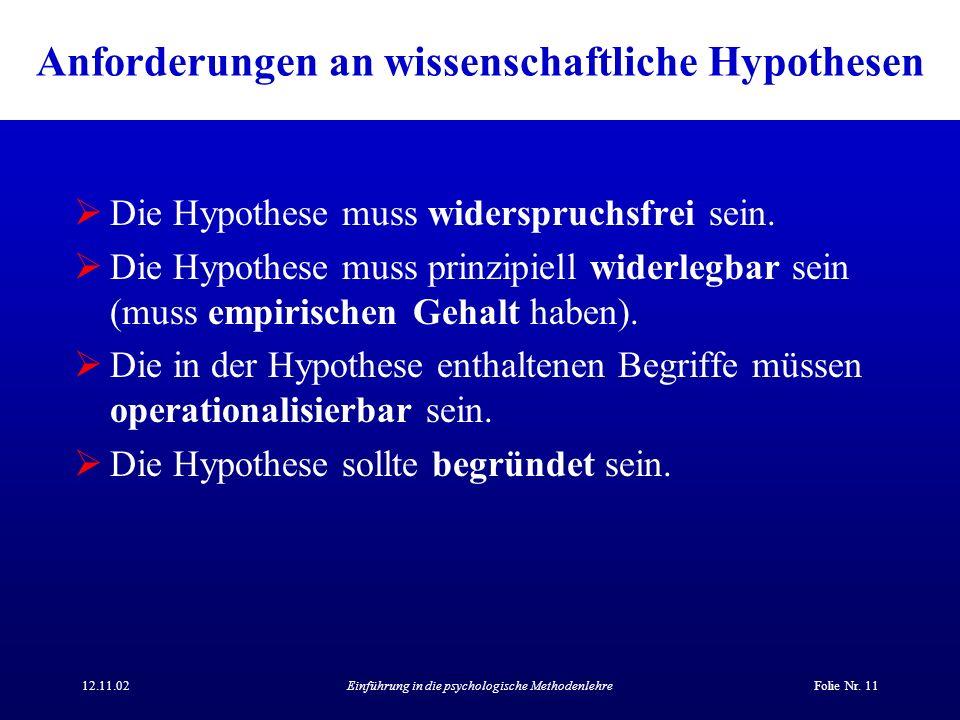 12.11.02Einführung in die psychologische MethodenlehreFolie Nr. 11 Anforderungen an wissenschaftliche Hypothesen Die Hypothese muss widerspruchsfrei s