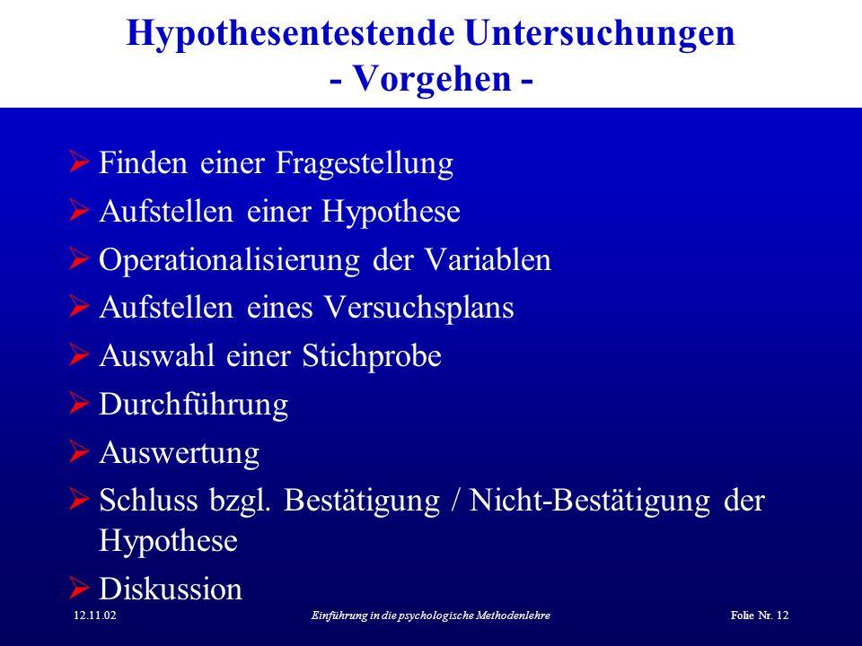12.11.02Einführung in die psychologische MethodenlehreFolie Nr. 12 Hypothesentestende Untersuchungen - Vorgehen - Finden einer Fragestellung Aufstelle