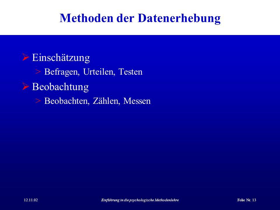 12.11.02Einführung in die psychologische MethodenlehreFolie Nr. 13 Methoden der Datenerhebung Einschätzung >Befragen, Urteilen, Testen Beobachtung >Be