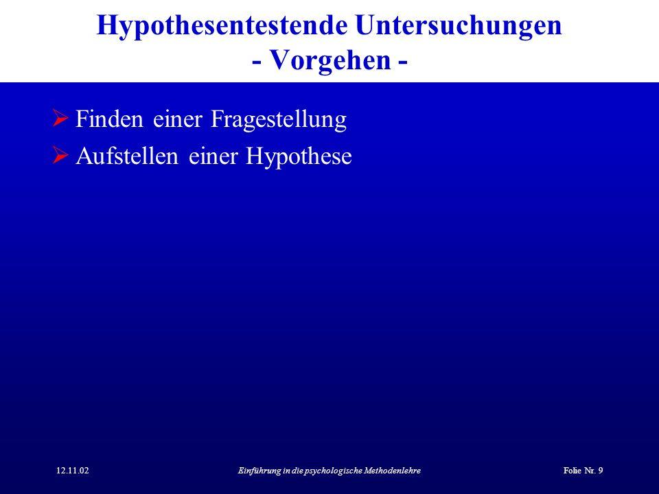 12.11.02Einführung in die psychologische MethodenlehreFolie Nr. 9 Hypothesentestende Untersuchungen - Vorgehen - Finden einer Fragestellung Aufstellen