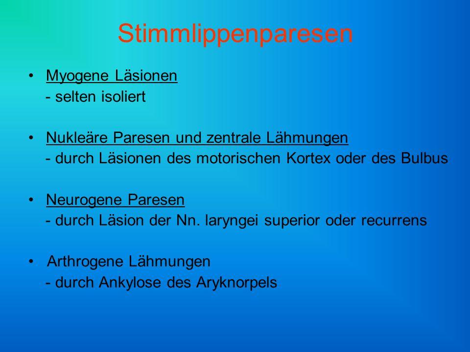 Neurogene Paresen Läsion des N.laryngeus sup.: - Heiserkeit, Hochtonverlust, v.a.