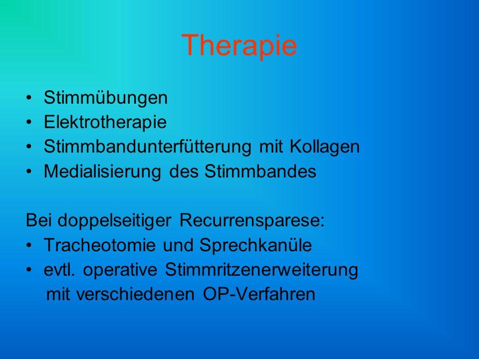 Therapie Stimmübungen Elektrotherapie Stimmbandunterfütterung mit Kollagen Medialisierung des Stimmbandes Bei doppelseitiger Recurrensparese: Tracheotomie und Sprechkanüle evtl.