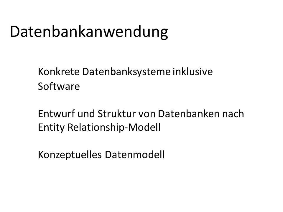 Datenbankanwendung Konkrete Datenbanksysteme inklusive Software Entwurf und Struktur von Datenbanken nach Entity Relationship-Modell Konzeptuelles Dat