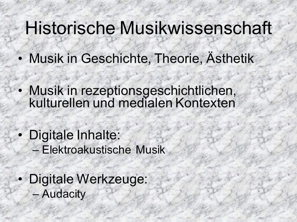 Musikethnologie Musik in kulturellen, sozialen Kontexten –Außereuropäische Musik –Europäische Musik Popularmusik (Pop, Hip Hop, Metal etc.) Schwerpunkt Köln Digitale Inhalte: –Statistik, Transkription Digitale Werkzeuge: –SPSS