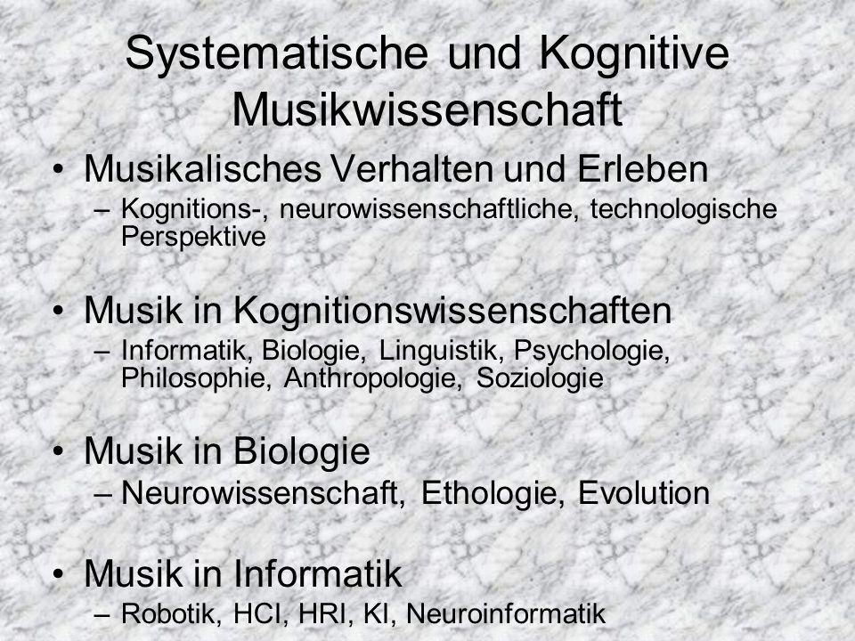 Systematische und Kognitive Musikwissenschaft Musikalisches Verhalten und Erleben –Kognitions-, neurowissenschaftliche, technologische Perspektive Mus
