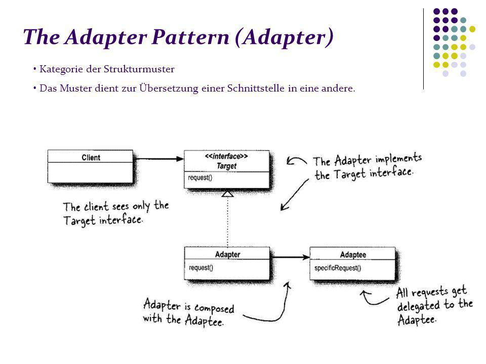 The Adapter Pattern (Adapter) Kategorie der Strukturmuster Das Muster dient zur Übersetzung einer Schnittstelle in eine andere.