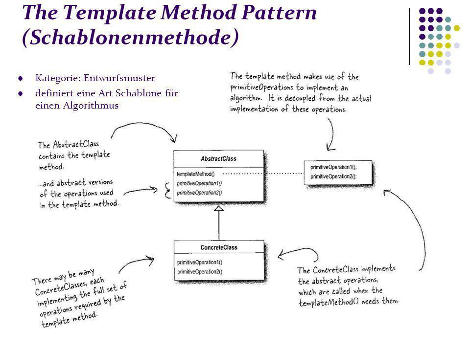 The Template Method Pattern (Schablonenmethode) Kategorie: Entwurfsmuster definiert eine Art Schablone für einen Algorithmus