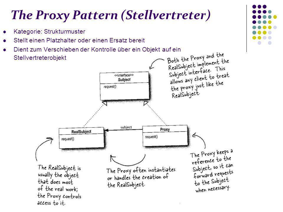 The Proxy Pattern (Stellvertreter) Kategorie: Strukturmuster Stellt einen Platzhalter oder einen Ersatz bereit Dient zum Verschieben der Kontrolle über ein Objekt auf ein Stellvertreterobjekt