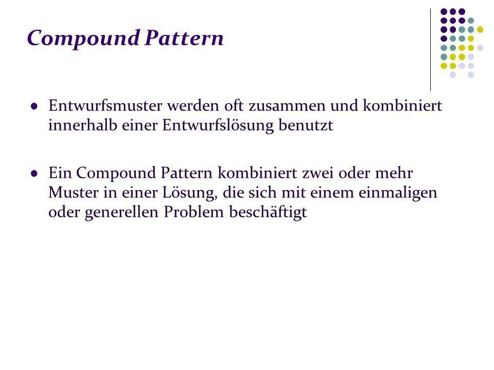 Compound Pattern Entwurfsmuster werden oft zusammen und kombiniert innerhalb einer Entwurfslösung benutzt Ein Compound Pattern kombiniert zwei oder mehr Muster in einer Lösung, die sich mit einem einmaligen oder generellen Problem beschäftigt