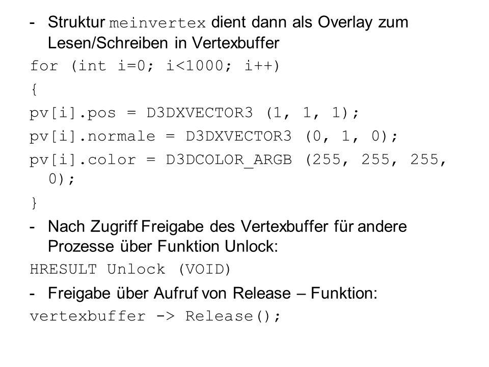 -Struktur meinvertex dient dann als Overlay zum Lesen/Schreiben in Vertexbuffer for (int i=0; i<1000; i++) { pv[i].pos = D3DXVECTOR3 (1, 1, 1); pv[i].normale = D3DXVECTOR3 (0, 1, 0); pv[i].color = D3DCOLOR_ARGB (255, 255, 255, 0); } -Nach Zugriff Freigabe des Vertexbuffer für andere Prozesse über Funktion Unlock: HRESULT Unlock (VOID) -Freigabe über Aufruf von Release – Funktion: vertexbuffer -> Release();