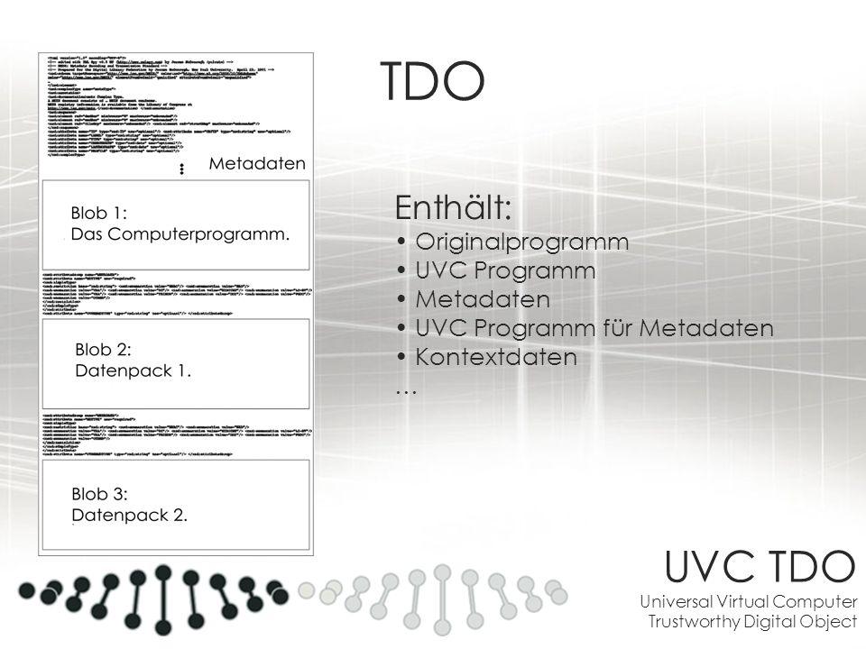 UVC TDO Universal Virtual Computer Trustworthy Digital Object TDO Enthält: Originalprogramm UVC Programm Metadaten UVC Programm für Metadaten Kontextd