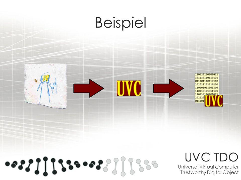 UVC TDO Universal Virtual Computer Trustworthy Digital Object Beispiel