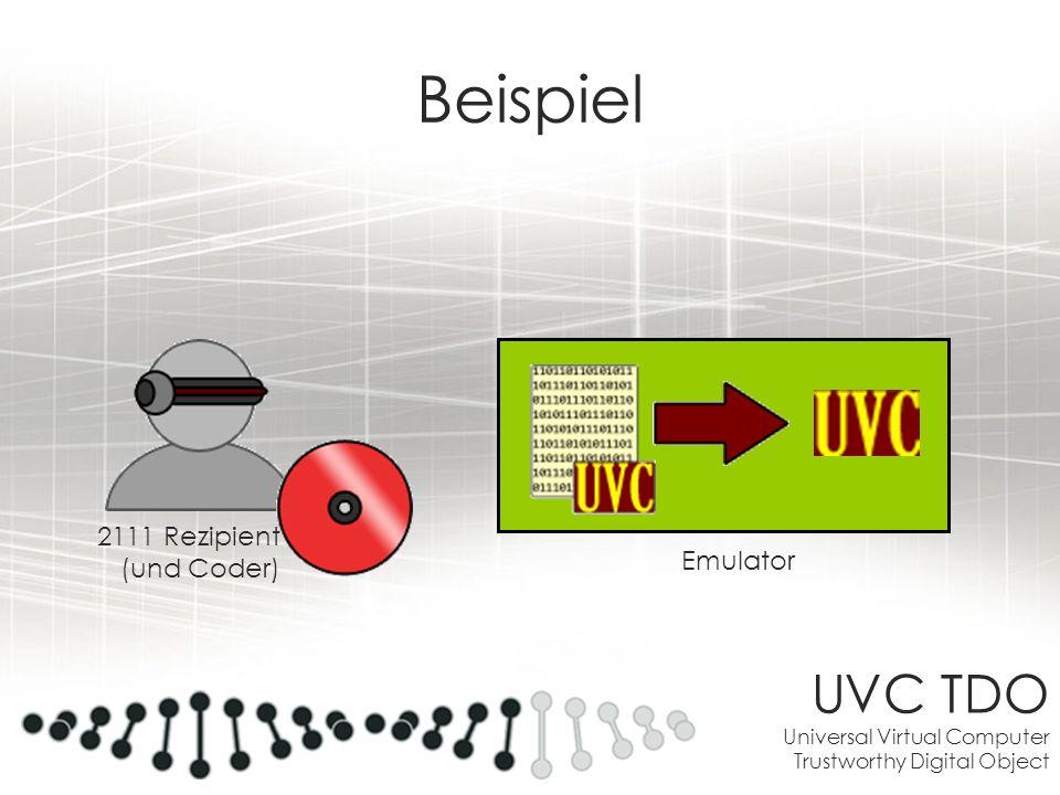 UVC TDO Universal Virtual Computer Trustworthy Digital Object Beispiel 2111 Rezipient (und Coder) Emulator
