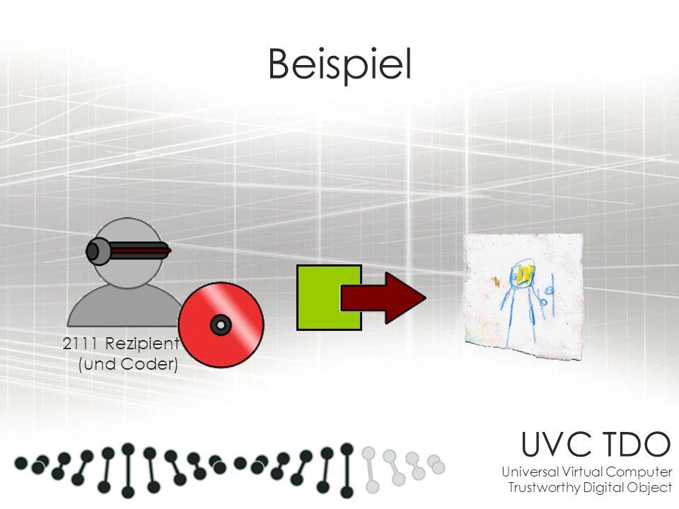 UVC TDO Universal Virtual Computer Trustworthy Digital Object Beispiel 2111 Rezipient (und Coder)