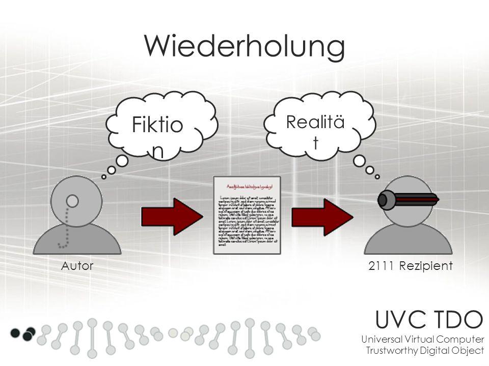 UVC TDO Universal Virtual Computer Trustworthy Digital Object Wiederholung Fiktio n Realitä t Autor2111 Rezipient