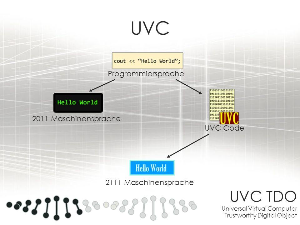 UVC TDO Universal Virtual Computer Trustworthy Digital Object UVC Programmiersprache 2011 Maschinensprache UVC Code 2111 Maschinensprache