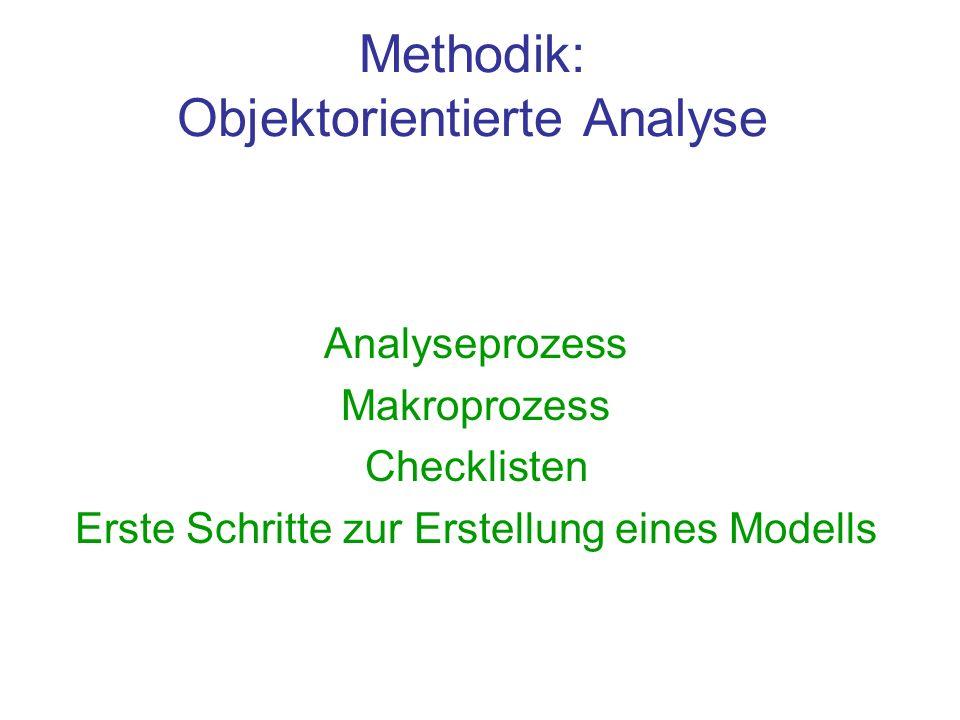 Methodik: Objektorientierte Analyse Analyseprozess Makroprozess Checklisten Erste Schritte zur Erstellung eines Modells