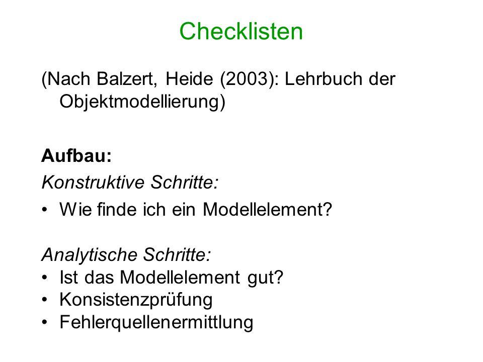 Checklisten (Nach Balzert, Heide (2003): Lehrbuch der Objektmodellierung) Aufbau: Konstruktive Schritte: Wie finde ich ein Modellelement? Analytische
