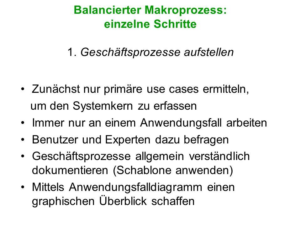 Balancierter Makroprozess: einzelne Schritte 1. Geschäftsprozesse aufstellen Zunächst nur primäre use cases ermitteln, um den Systemkern zu erfassen I