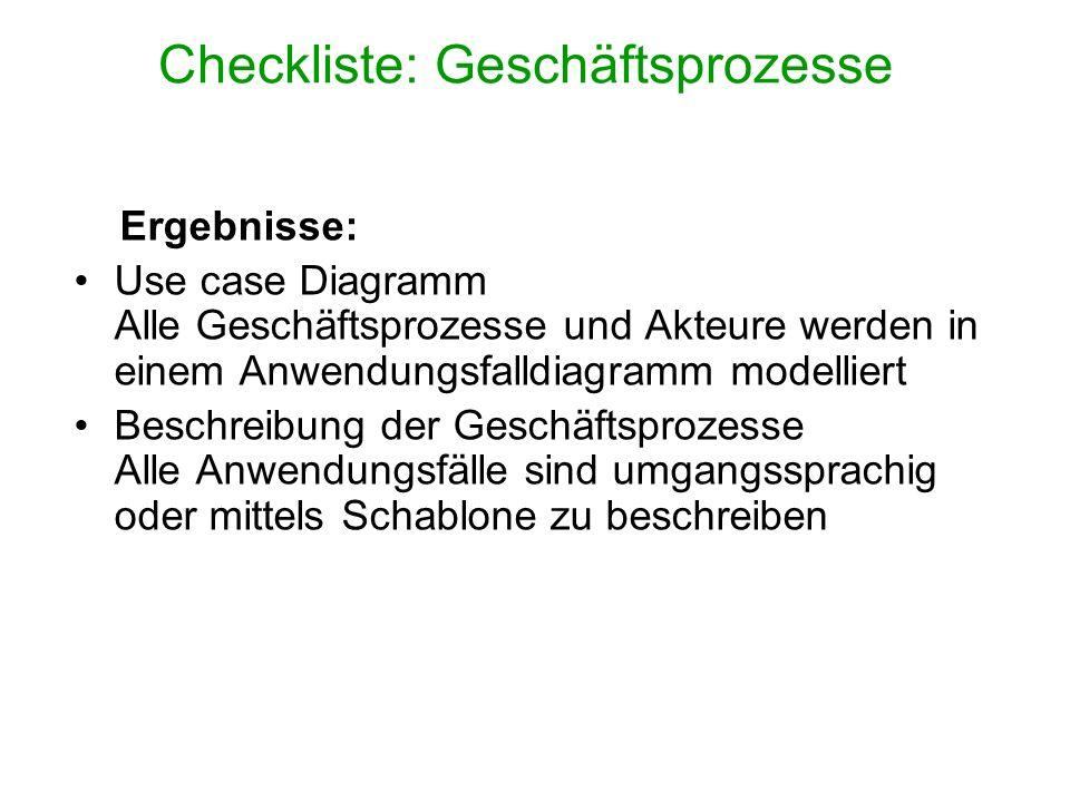 Checkliste: Geschäftsprozesse Ergebnisse: Use case Diagramm Alle Geschäftsprozesse und Akteure werden in einem Anwendungsfalldiagramm modelliert Besch