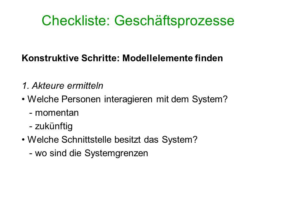 Checkliste: Geschäftsprozesse Konstruktive Schritte: Modellelemente finden 1. Akteure ermitteln Welche Personen interagieren mit dem System? - momenta