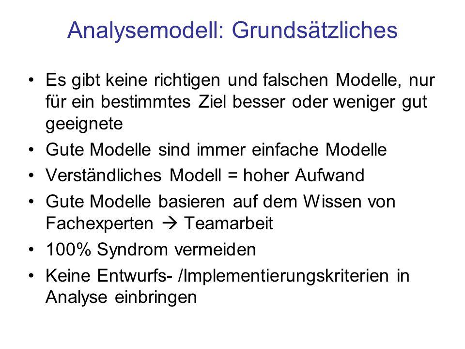 Analysemodell: Grundsätzliches Es gibt keine richtigen und falschen Modelle, nur für ein bestimmtes Ziel besser oder weniger gut geeignete Gute Modell