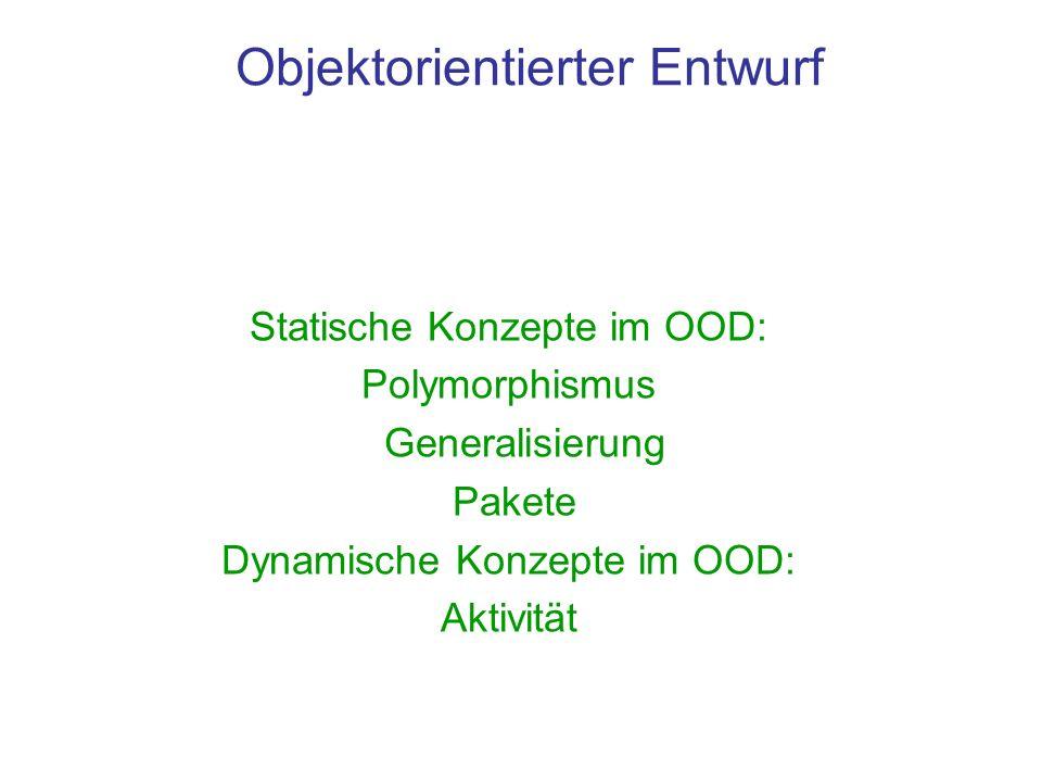 Objektorientierter Entwurf Statische Konzepte im OOD: Polymorphismus Generalisierung Pakete Dynamische Konzepte im OOD: Aktivität