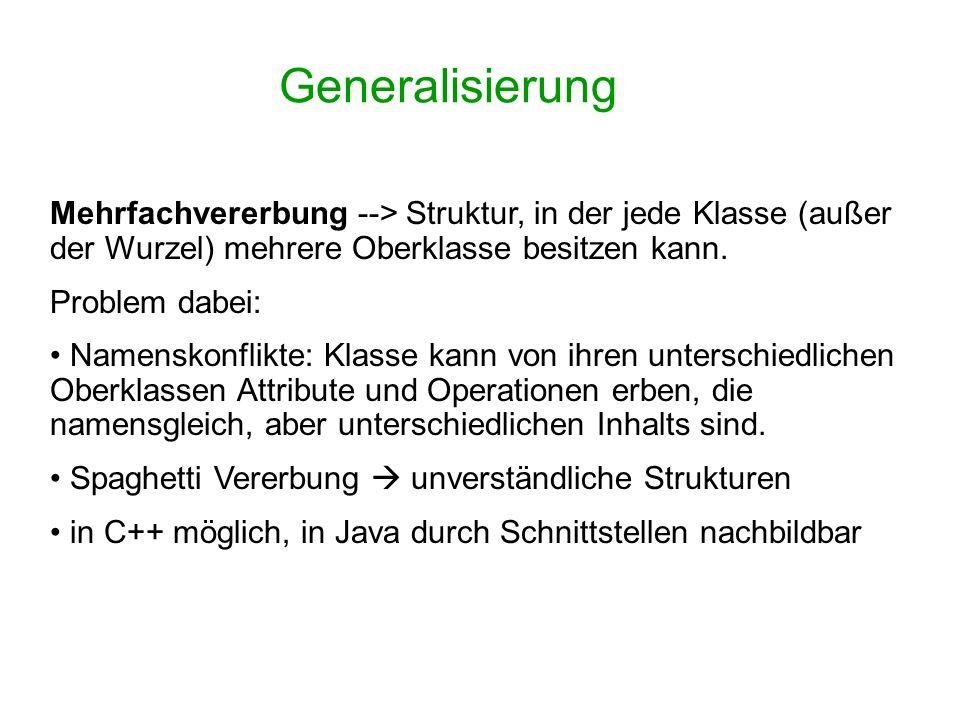 Generalisierung Mehrfachvererbung --> Struktur, in der jede Klasse (außer der Wurzel) mehrere Oberklasse besitzen kann.
