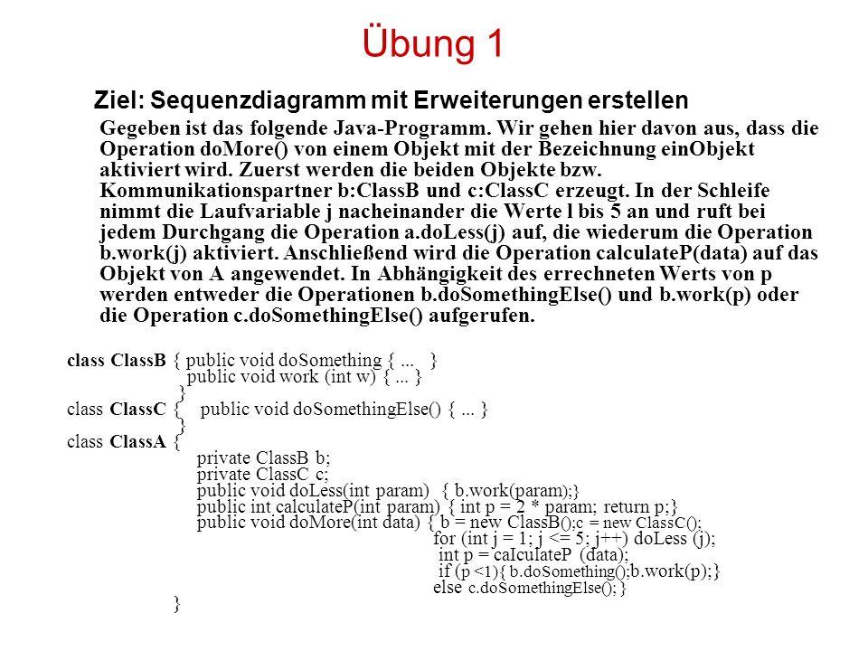 Übung 1 Ziel: Sequenzdiagramm mit Erweiterungen erstellen Gegeben ist das folgende Java-Programm. Wir gehen hier davon aus, dass die Operation doMore(