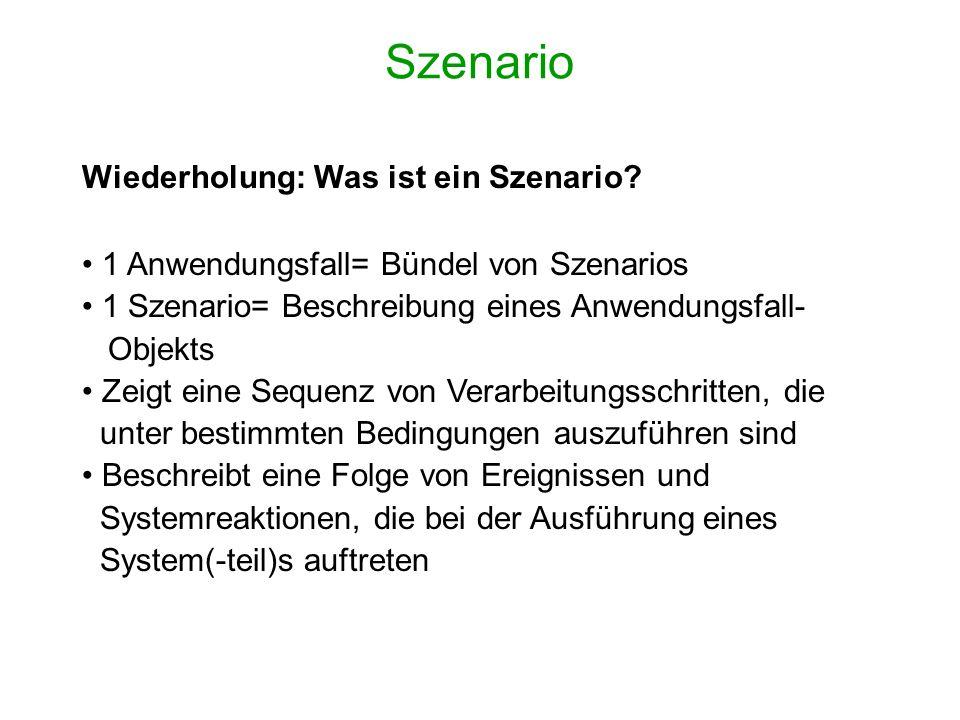 Szenario Wiederholung: Was ist ein Szenario? 1 Anwendungsfall= Bündel von Szenarios 1 Szenario= Beschreibung eines Anwendungsfall- Objekts Zeigt eine