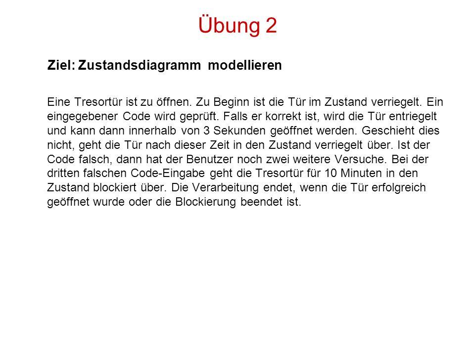 Übung 2 Ziel: Zustandsdiagramm modellieren Eine Tresortür ist zu öffnen. Zu Beginn ist die Tür im Zustand verriegelt. Ein eingegebener Code wird geprü