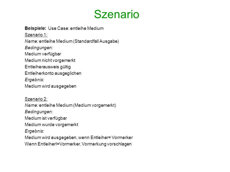Szenario Beispiele: Use Case: entleihe Medium Szenario 1: Name: entleihe Medium (Standardfall Ausgabe) Bedingungen: Medium verfügbar Medium nicht vorg