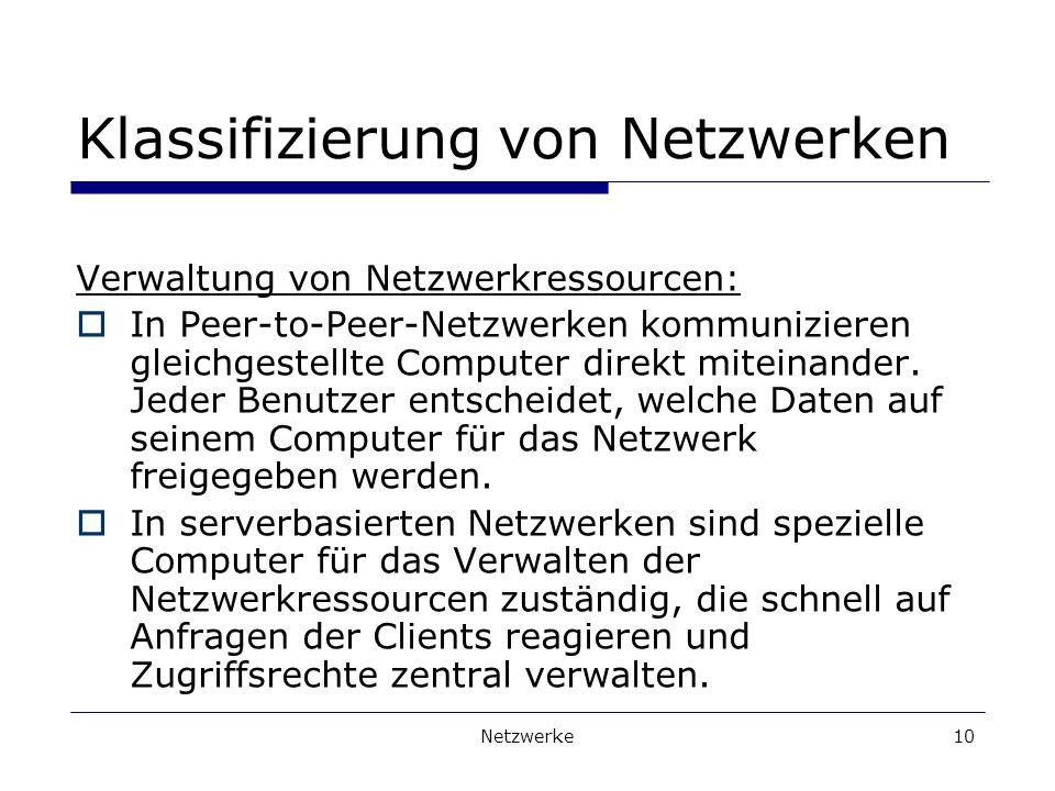 Netzwerke10 Klassifizierung von Netzwerken Verwaltung von Netzwerkressourcen: In Peer-to-Peer-Netzwerken kommunizieren gleichgestellte Computer direkt miteinander.