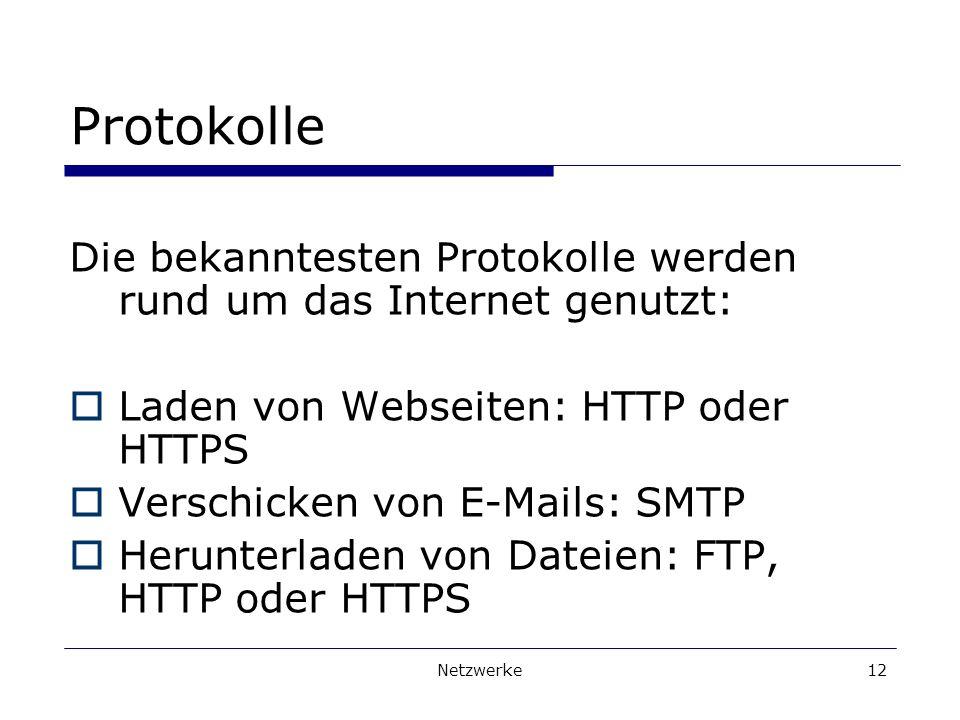 Netzwerke12 Protokolle Die bekanntesten Protokolle werden rund um das Internet genutzt: Laden von Webseiten: HTTP oder HTTPS Verschicken von E-Mails: SMTP Herunterladen von Dateien: FTP, HTTP oder HTTPS