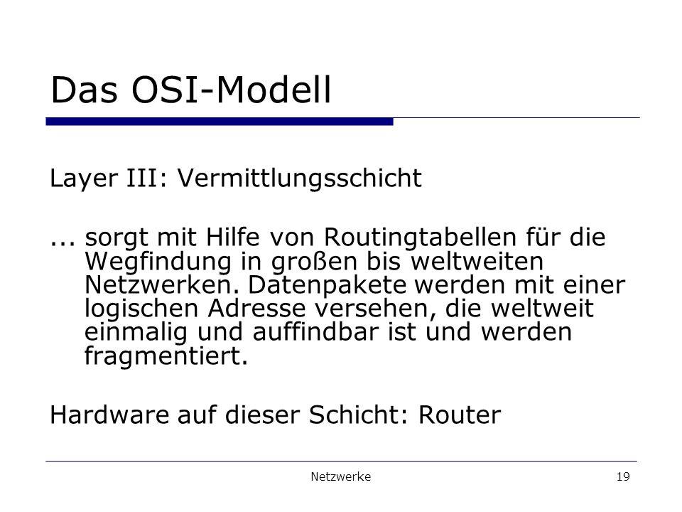 Netzwerke19 Das OSI-Modell Layer III: Vermittlungsschicht...