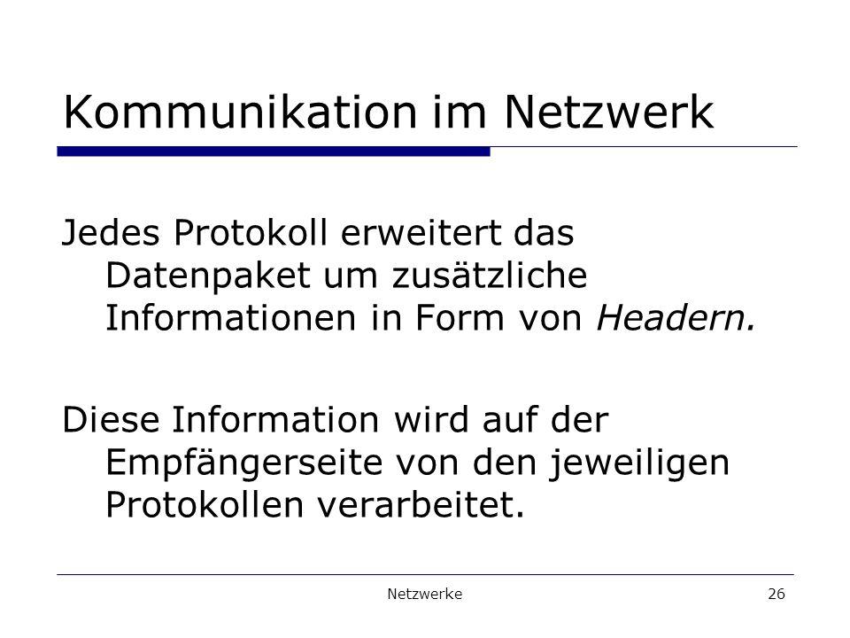 Netzwerke26 Kommunikation im Netzwerk Jedes Protokoll erweitert das Datenpaket um zusätzliche Informationen in Form von Headern.