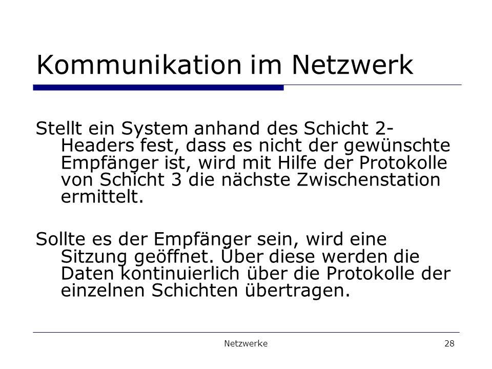 Netzwerke28 Kommunikation im Netzwerk Stellt ein System anhand des Schicht 2- Headers fest, dass es nicht der gewünschte Empfänger ist, wird mit Hilfe der Protokolle von Schicht 3 die nächste Zwischenstation ermittelt.
