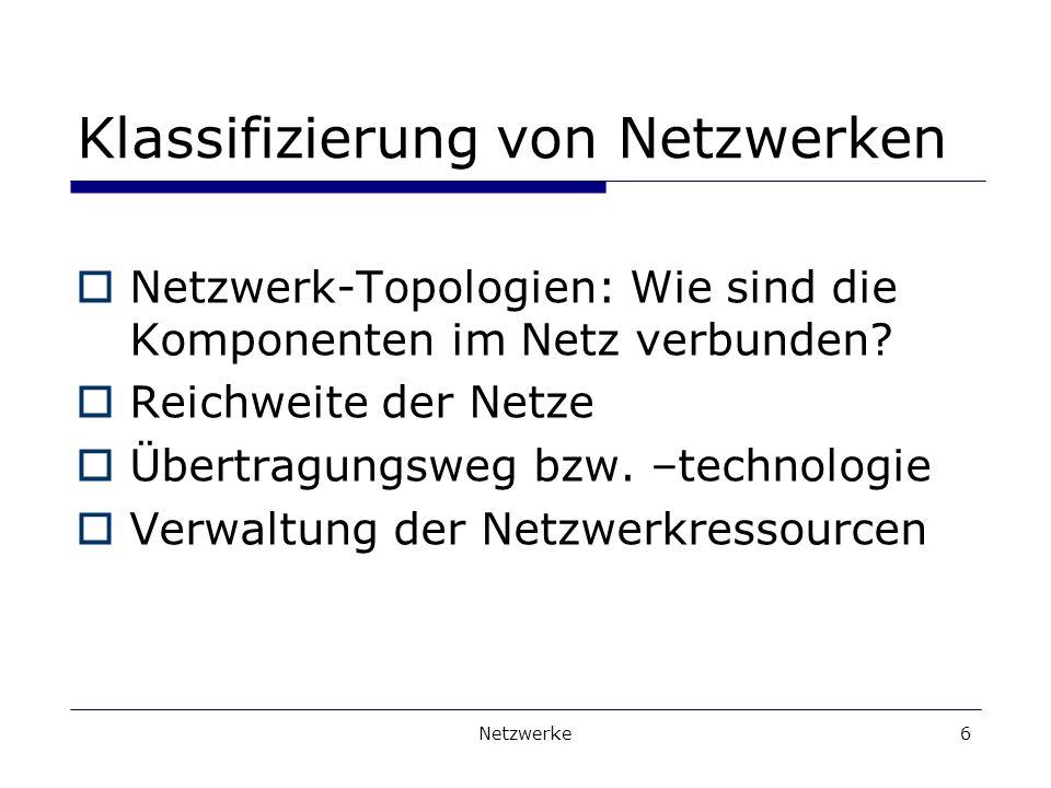 Netzwerke6 Klassifizierung von Netzwerken Netzwerk-Topologien: Wie sind die Komponenten im Netz verbunden.