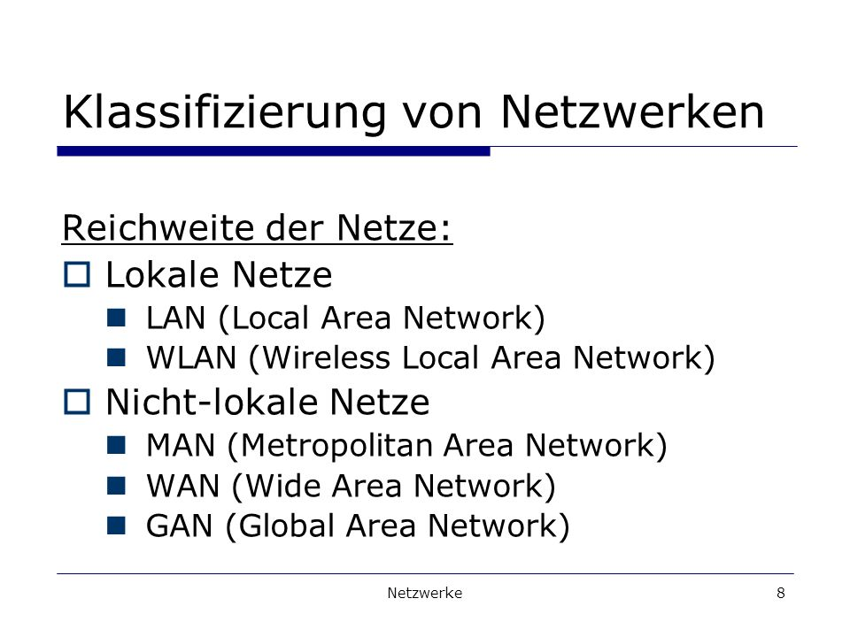Netzwerke8 Klassifizierung von Netzwerken Reichweite der Netze: Lokale Netze LAN (Local Area Network) WLAN (Wireless Local Area Network) Nicht-lokale