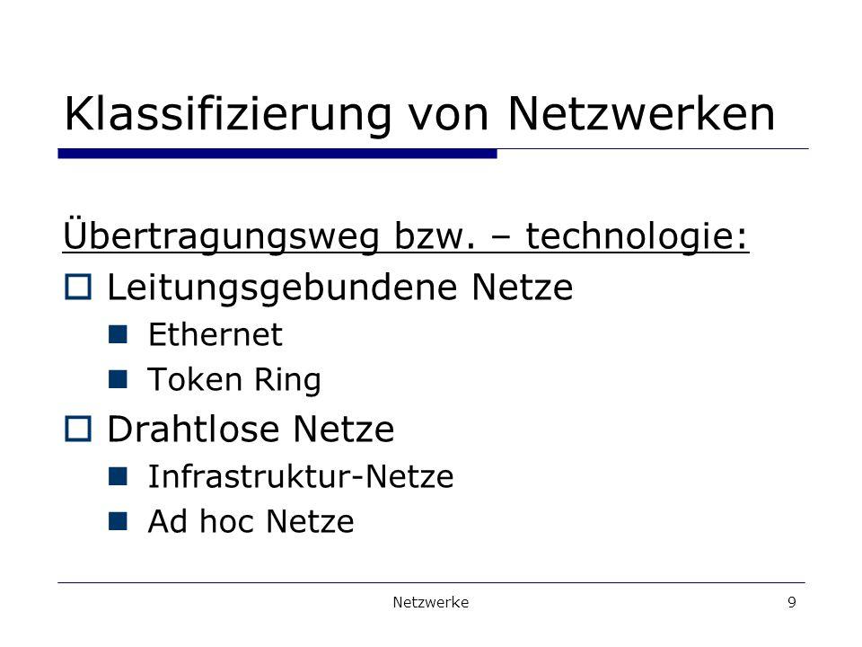 Netzwerke9 Klassifizierung von Netzwerken Übertragungsweg bzw.